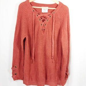 Knit Sweater Orange Lace Up M